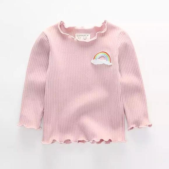 Shirts Tops Nwt Cute Baby Girl Rainbow Design Pink Shirt Top